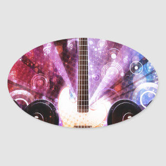 Grunge Guitar with Loudspeakers 3 Oval Sticker