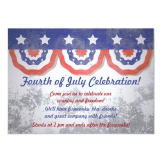 Grunge Half Flag Banner 4th of July Invitations