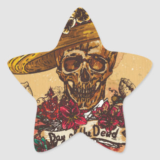 Grunge,halloween,skull,mexican hat,day of the dead star sticker