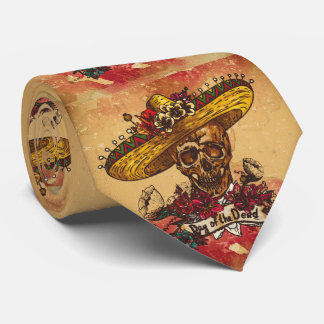 Grunge,halloween,skull,mexican hat,day of the dead tie