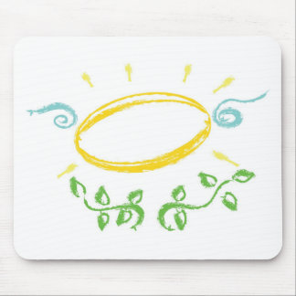 Grunge Halo with Wings and  Leaves Mouse Pad