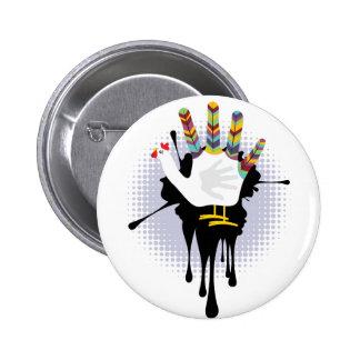 Grunge Hand Chicken4 Pinback Button