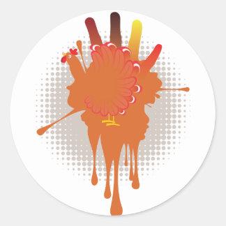 Grunge Hand Chicken Classic Round Sticker