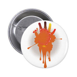 Grunge Hand Chicken Pinback Button