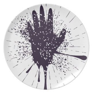 Grunge Hand with Gestures Dinner Plate