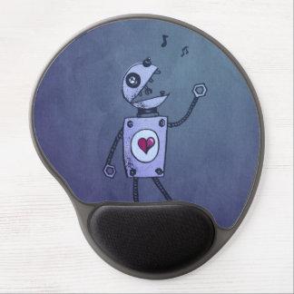 Grunge Happy Singing Robot Ergonomic Gel Mouse Pad