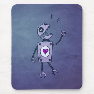Grunge Happy Singing Robot Mouse Pad