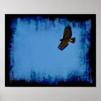 Grunge Hawk in Flight Posters