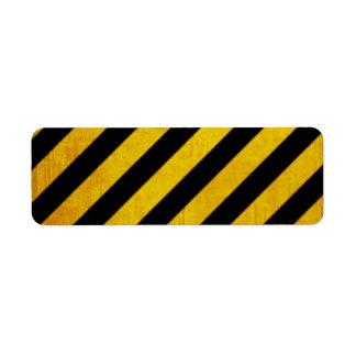 Grunge hazard stripe custom return address labels