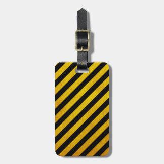 Grunge hazard stripe luggage tags