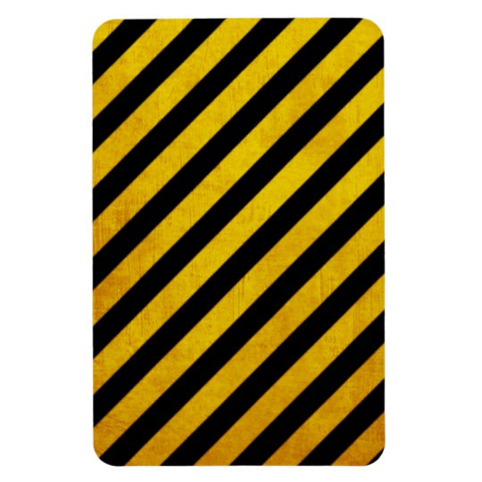 Grunge hazard stripe magnet