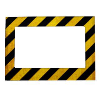 Grunge hazard stripe magnetic frame