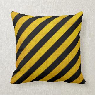 Grunge hazard stripe throw pillow