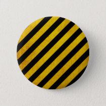 Grunge hazard stripe pinback button