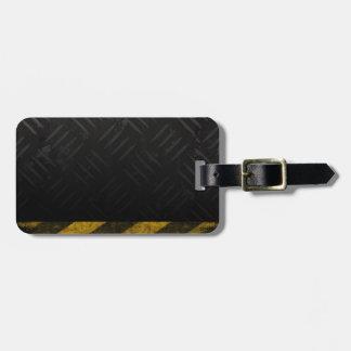 Grunge Hazard Stripes Diamond Plate Bag Tag