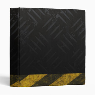 Grunge Hazard Stripes Diamond Plate Binder