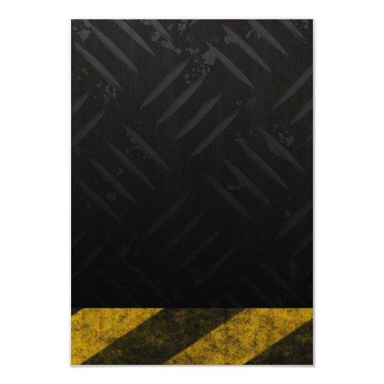 Grunge Hazard Stripes Diamond Plate Card