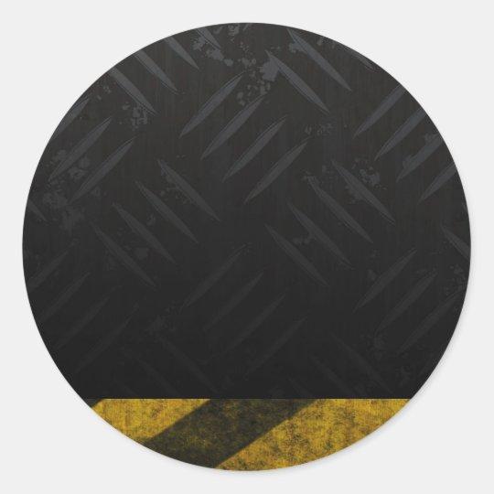 Grunge Hazard Stripes Diamond Plate Classic Round Sticker