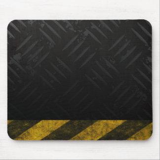 Grunge Hazard Stripes Diamond Plate Mouse Pad