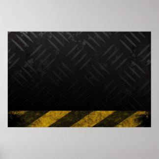 Grunge Hazard Stripes Diamond Plate Print