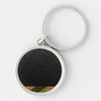 Grunge Hazard Stripes Diamond Plate Silver-Colored Round Keychain