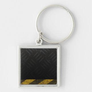 Grunge Hazard Stripes Diamond Plate Silver-Colored Square Keychain
