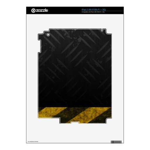 Grunge Hazard Stripes Diamond Plate Decal For The iPad 2