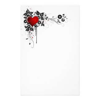 Grunge Heart and Flowers Stationery