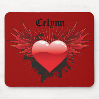 Grunge Heart and Wings Mouse Pad