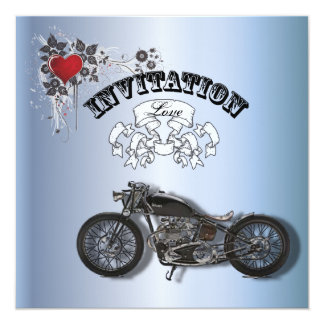"Grunge Heart Motorcycle Biker Wedding Invitation 5.25"" Square Invitation Card"