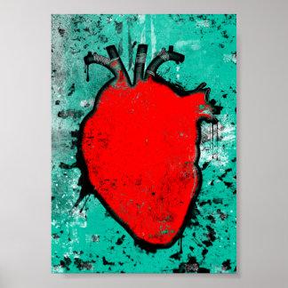 grunge heart poster