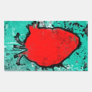 grunge heart rectangular sticker