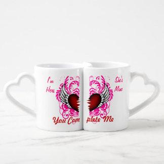 Grunge Heart Wings Lesbian Same Sex Lovers Mugs Lovers Mugs