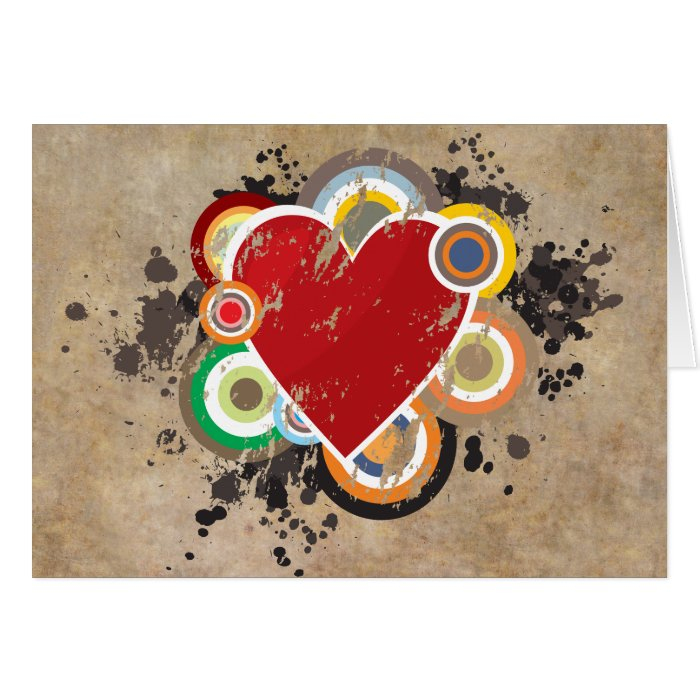 Grunge Heart with Rings Card
