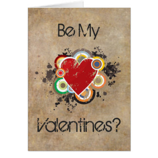 Grunge Heart with Rings Greeting Cards