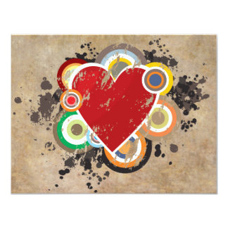 Grunge Heart with Rings 4.25x5.5 Paper Invitation Card
