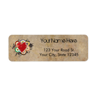 Grunge Heart with Rings Label