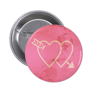 Grunge Hearts and Arrow Green - Pink Pinback Button