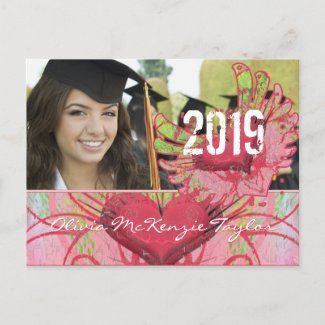 Grunge Hearts Class of Graduation Invitations postcard