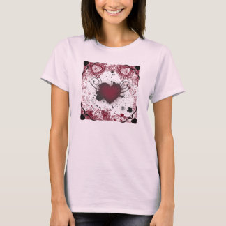 Grunge hearts Valentine themed pink shirt. T-Shirt