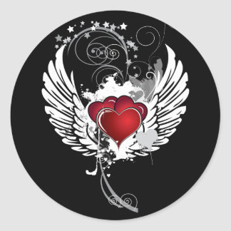 Grunge Hearts Wings Classic Round Sticker