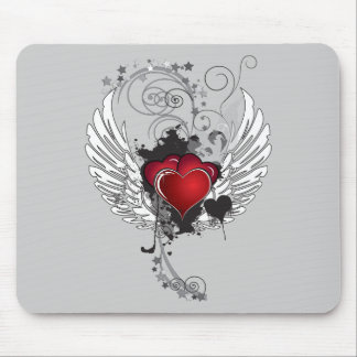 Grunge Hearts Wings Mouse Pad