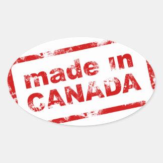 Grunge hecho en Canadá - blanco Colcomanias De Oval