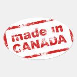 Grunge hecho en Canadá - blanco Pegatina Ovalada