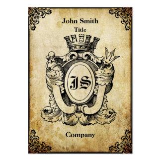 Grunge Heraldry Monogram Large Business Card