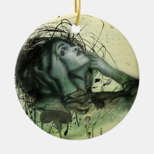 Grunge Hood Portrait Ceramic Ornament