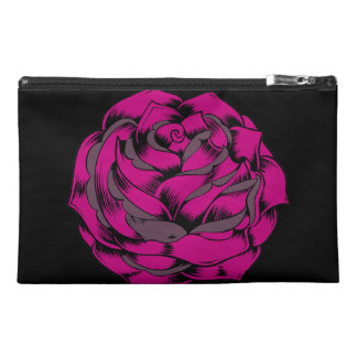 Grunge Hot Pink Rose Flower Travel Accessory Bags