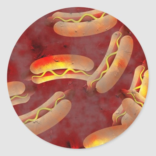 Grunge Hotdogs Classic Round Sticker