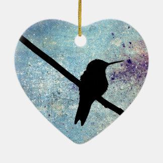 Grunge Hummingbird Ceramic Ornament