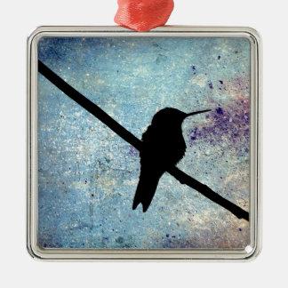 Grunge Hummingbird Metal Ornament